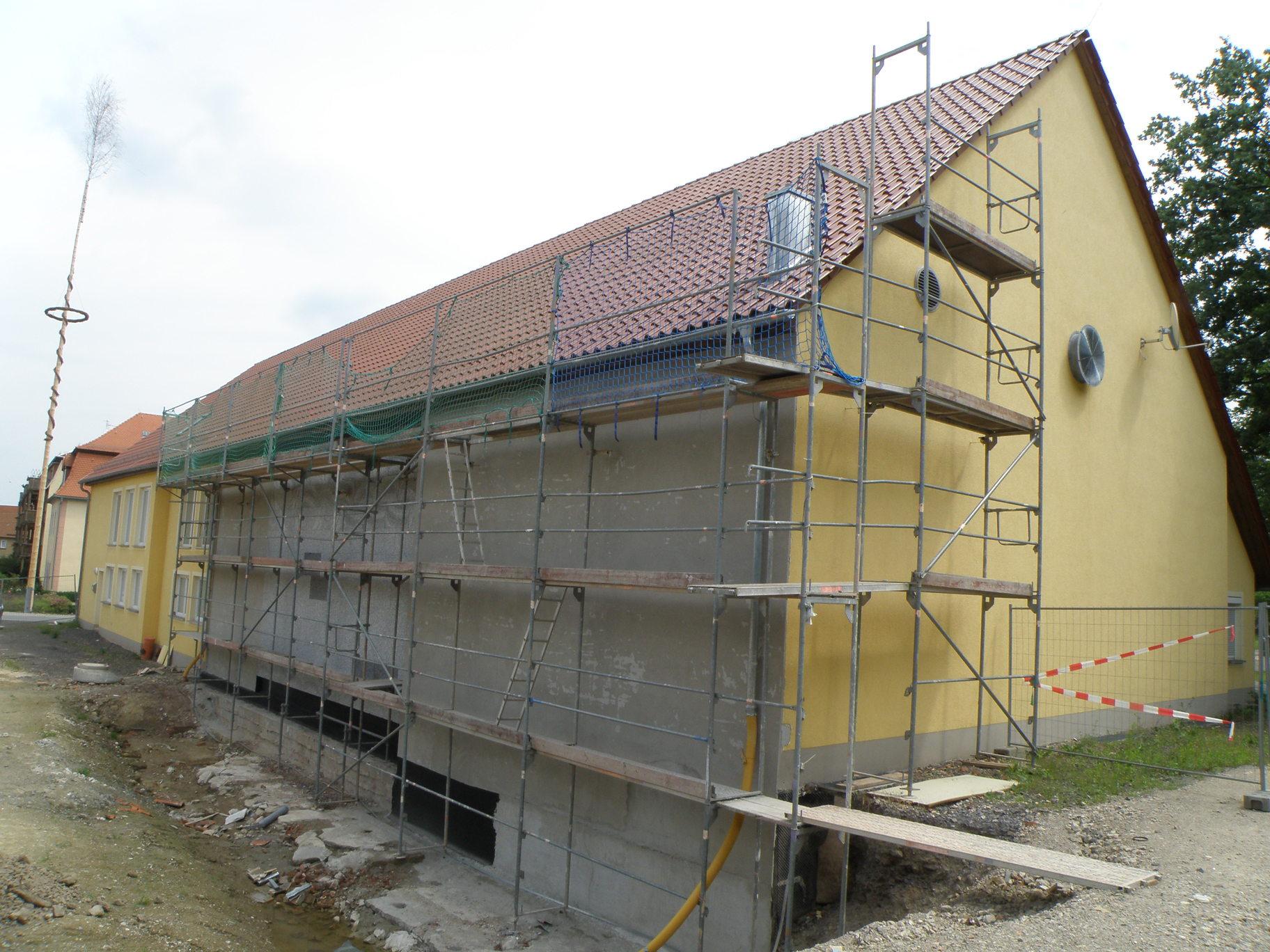Seitenansicht der Fassadenneugestaltung im Jahr 2012